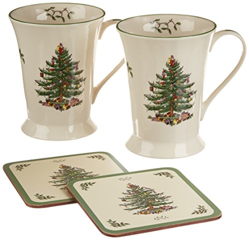 Spode Christmas Tree Mug and Coaster Set, Set of 2