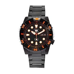 Seiko Men's SNZJ21 Seiko 5 Stainless Steel Black Dial Watch