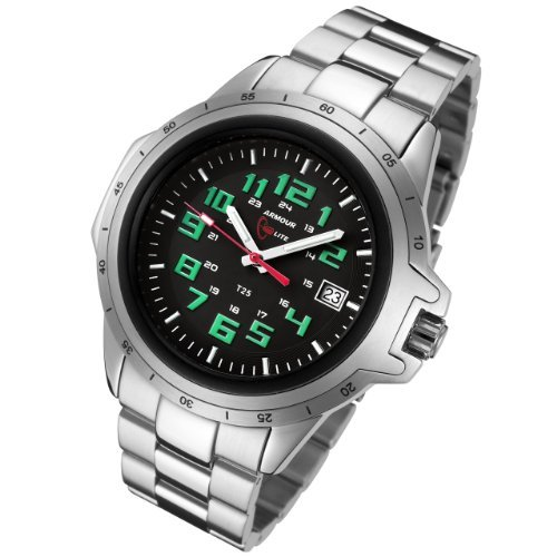 Armourlite ColorBurst Shatterproof Scratch proof Glass Green Tritium Watch 10 yr battery w/ Stainless Steel Band AL213