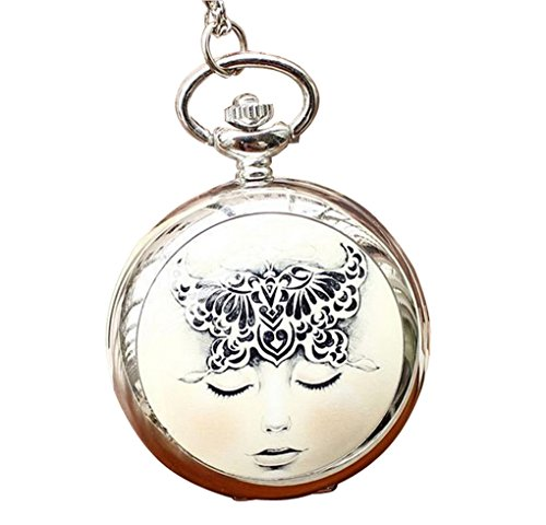 Infinite U Black Butterfly Lady Big Quartz Pocket Watch With Mirror Arabic Numerals Silver front-787114