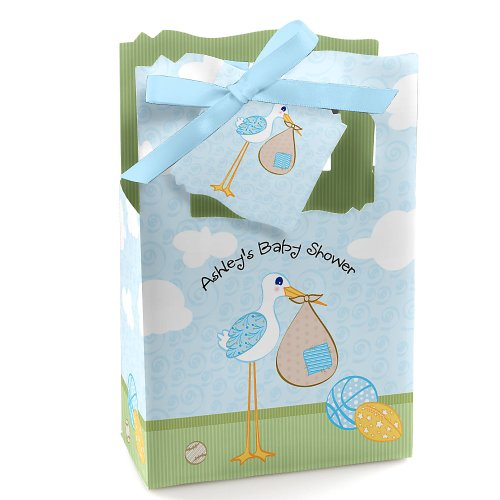 Stork Baby Boy - Personalized Baby Shower Favor Boxes front-805095