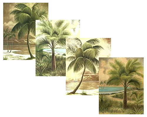 Set-of-4-Palms-Scenic-Beach-Ocean-Jenkins-Palm-Trees-Art-Prints-Posters-11x14-Inches-Living-Room-Home-Office-Decor