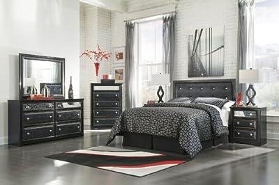 Marvelous Ashley Ashley Alamadyre Upholstered Panel Headboard Bedroom Set in Black ue ue