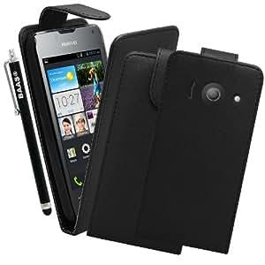 BAAS® Coque Huawei Ascend Y300 Noir Etui Cuir Clapet Housse + 3x Film de Protection d'Ecran + Stylet Pour Ecran Tactile Capacitif