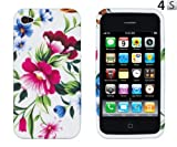Pink & Blue Flowers Flexible TPU Gel Case for Apple iPhone 4, 4S (AT&T, Verizon, Sprint)