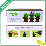 NEW- Rustic Charm Herb Trio Kit - Attractive Rustic Planter Pots + Slate Markers + Fiber Soil + Germination Bags + Basil, Chive and Sage Seeds. Grow a fresh Indoor Kitchen Window Garden. Great Gift.