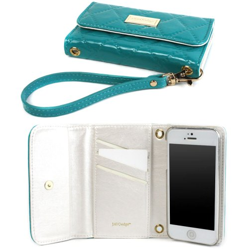 Great Sale JAVOedge Vintage Quilted Clutch Wallet Case with Wristlet for the Apple iPhone 5s, iPhone 5 (Turquoise)