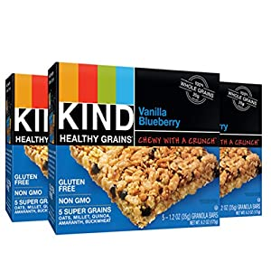 KIND Healthy Grains Granola Bars, Vanilla Blueberry, 1.2oz Bars, 15 Count