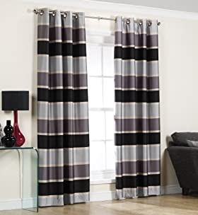 Graduated Stripe Eyelet Curtains [T47-3501-S]