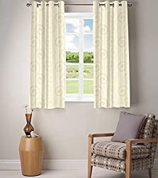 Fabutex Eyelet Woven Polyester Cotton Jacquard Window Curtain - 46x60 inches,...