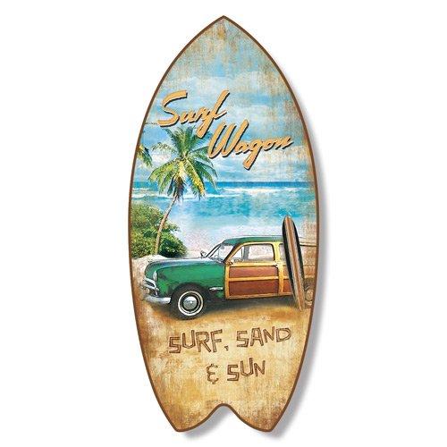 Surfboard Plaque Surf Wagon Beach Coastal Wall Decor Sporting Goods ...