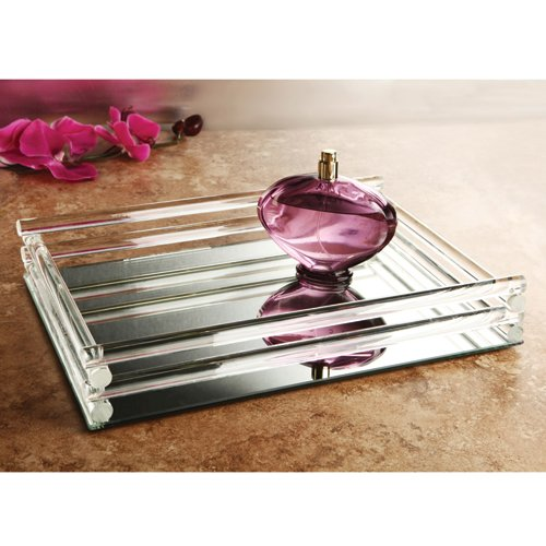 Mirror Vanity Tray With Double Rail