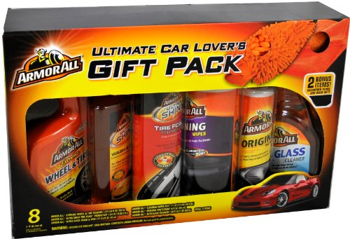 Armor All Ultimate Car Lover's Gift Pack with Extreme Wheel & Tire Cleaner (1.5 pt), Ultra Shine Tire Foam Protectant (1 lb 2 oz.), Ultra Shine Wash and Wax (1 pt), Cleaning Wipes (25 ct), Original Protectant (10 fl. oz) and Auto Glass Cleaner (1.38 pt) P