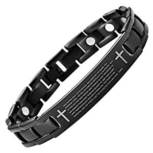 New Mens Lord's Prayer in English Black Titanium Magnetic Bracelet in Velvet Box with Free Link Removal Tool