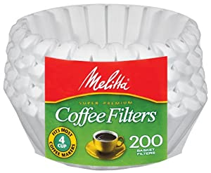 Melitta Basket Coffee Filters, Jr. White (4 to 6-Cup), 200-Count Filters (Pack of 12) by Melitta