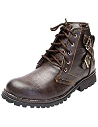 Guardian Brown Synthetic Leather Boots For Men