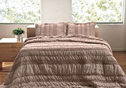 Greenland Home 3-Piece Tiana Quilt Set King Taupe