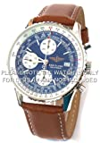 20mm Brown Leather Watch strap White Stitching Fits Breitling Navitimer