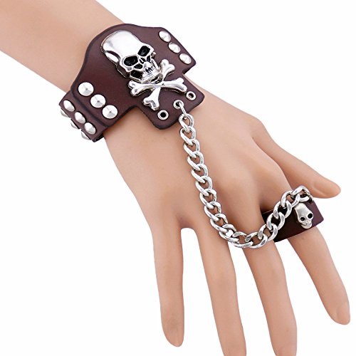 skull-unisex-leather-bracelet-pole-dancing-rock-night-bar-band-up-womens-mens-link-cute-cuff-wristba