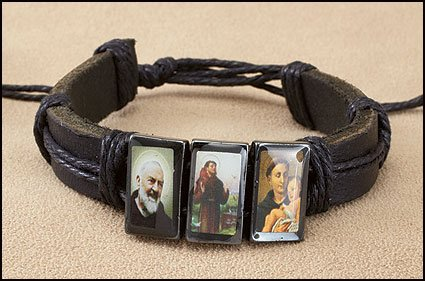 Blessed By Pope Benedetto XVI Padre Pio St Saint Francis St Anthony Leather Adjustable Bracelet