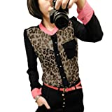 Woman Leopard Print Sheerness Long Sleeve Buttoned Blouse