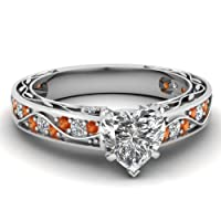 1 Ct Heart Shaped Diamond & Orange Sapphire Engagement Ring F-Color GIA by Fascinating Diamonds