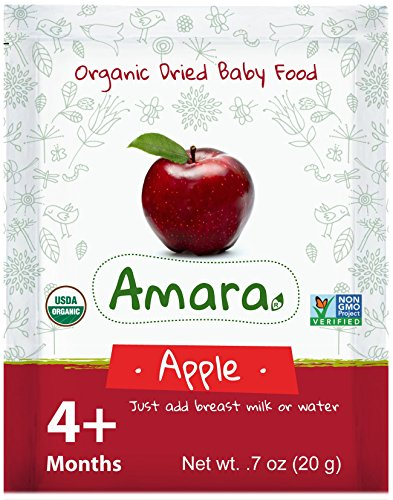 Baby Food Stage 1 ORGANIC - NON GMO & GLUTEN FREE - Apple Flavor (42 Pouches) for 4 Month Happy Healthy Toddlers - Best Natural Dried Fruits & Vegetables Mix with Breast Milk Formula or Water by Amara (Liver Baby Food compare prices)