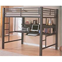 Big Sale Coaster Fine Furniture 460023 Loft Bed with Workstation, Black Finish