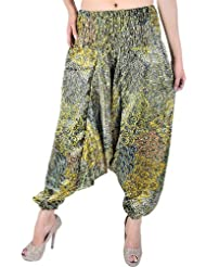 Exotic India Primrose-Yellow And Green Printed Harem Trousers - Yellow