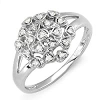 0.20 Carat (ctw) Sterling Silver Ladies Round Diamond Cocktail Right Hand Ring 1/5 CT from DazzlingRock