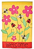 Welcome Bees & Ladies Garden Applique Flag