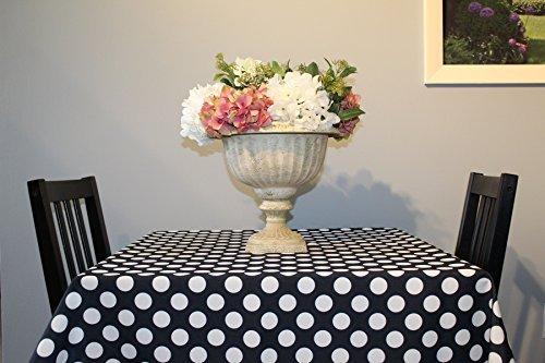 Black Polka Dot Polyester Tablecloths - Assorted Sizes (54