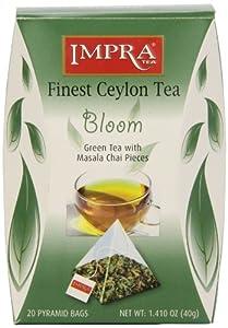 Impra Tea Masala Chai Bloom Green Tea -Pyramid Bags, 1.41-Ounce (Pack of 5)