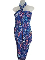 PLUS SIZE HAWAIIAN BLUE BATIK SARONG WITH COLORFUL HIBISCUS & SARONG BUCKLE (1X-2X)