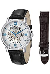 Stuhrling Original Delphi 458.2S Mens Skeleton Watch Set with Mechanical Movement Stainless Steel Leather Band Watch with Black and Brown Straps
