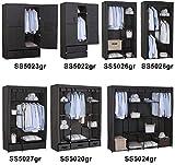 WOLTU-SS5022gr-1-Kleiderschrank-Stoff-mit-Flgeltr-Garderobenschrank-Faltschrank-Stoffkleiderschrank-mit-Kleiderstange-Grau-74x46x172-cm