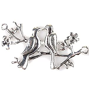 Plated Silver Alloy Bird&Branch Charms Pendants Hot Findings Fit Jewellery Making 10x 145536