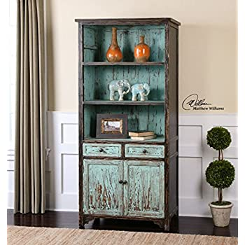 Aqua Turquoise Distressed Bookshelf | Cottage Blue Bookcase Shelf