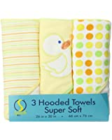 Spasilk 3 pack Soft Terry Hooded Towel Set, Yellow