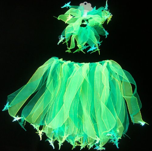 2 pc Tinkerbel Fairy Tutu with Matching Hair Pony. Select Color: Green