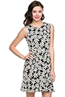 2LUV Women's Lace Accent Fit & Flare A-Line Dress