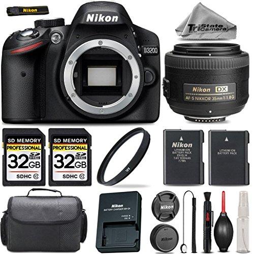 Nikon-D3200-DSLR-Camera-Nikon-AF-S-DX-NIKKOR-35mm-f18G-Lens-2-Of-32GB-Class-10-Memory-Card-UV-Filter-Backup-Battery-Camera-Case-Cleaning-Kit-International-Version