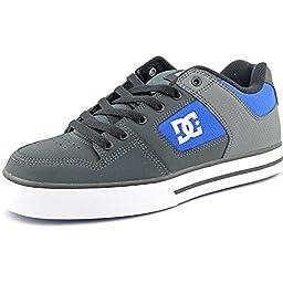 DC Men\'s Pure Skate Shoe, Grey/Royal, 9 M US