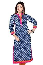 Madhuram Fabric Women's Cotton Kurti (.1011._Blue_X-Large)