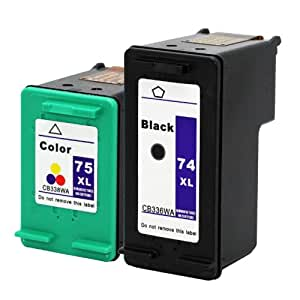 Remanufactured Ink Cartridge Replacement for HP 74XL 75XL (1 Black 1 Color) 2 Pack