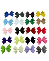 """FIODAY 20pc 3"""" Boutique Windmill Style Hair Bows Girls Baby Alligator Clip Grosgrain Ribbon Headbands"""