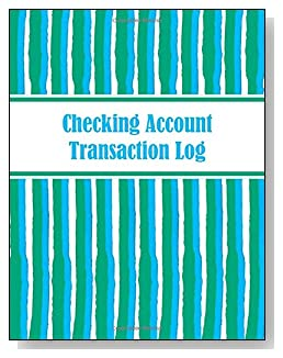 Blue and Green Stripes Checking Account Transaction Log - A beautiful book with wide lines to easily track all your checking account activity without having to write tiny and cram everything into those little check register booklets.
