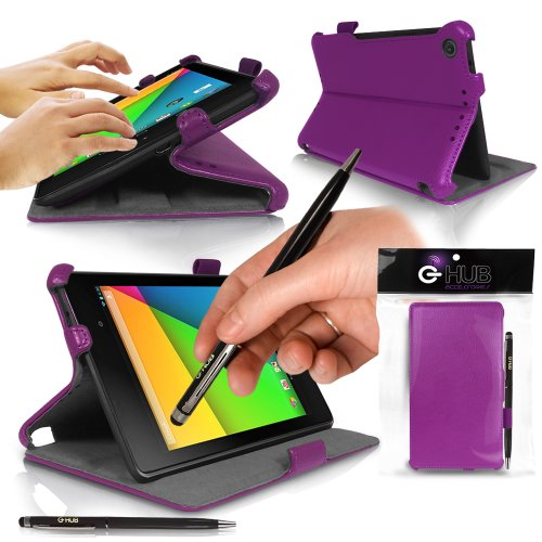 Google NEXUS 7 ii Tablet Case BUNDLE from G-HUB - Includes: OTG Cable (USB to Micro USB adapter + extra USB Extension cable), Luxury PURPLE Frameless Case with Superior Integrated Stand, Auto Wake / Sleep Sensor, plus BONUS: G-HUB ProPen Stylus.