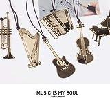 【6枚セット】音楽シリーズ ピアノ+ギター+アコーディオン+ハーブ+トランペット+バイオリン 金属 しおり
