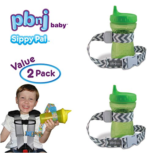 pbnj-baby-sippypal-sippy-cup-holder-strap-leash-tether-gray-chevron-2-pack